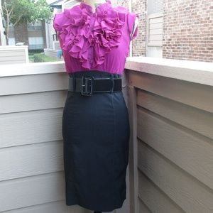 1336 Snap Pink & black ruffle front dress Sz S